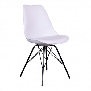 Vincent Spisebordsstol i Hvid Formstøbt Plast og Kunstlæder